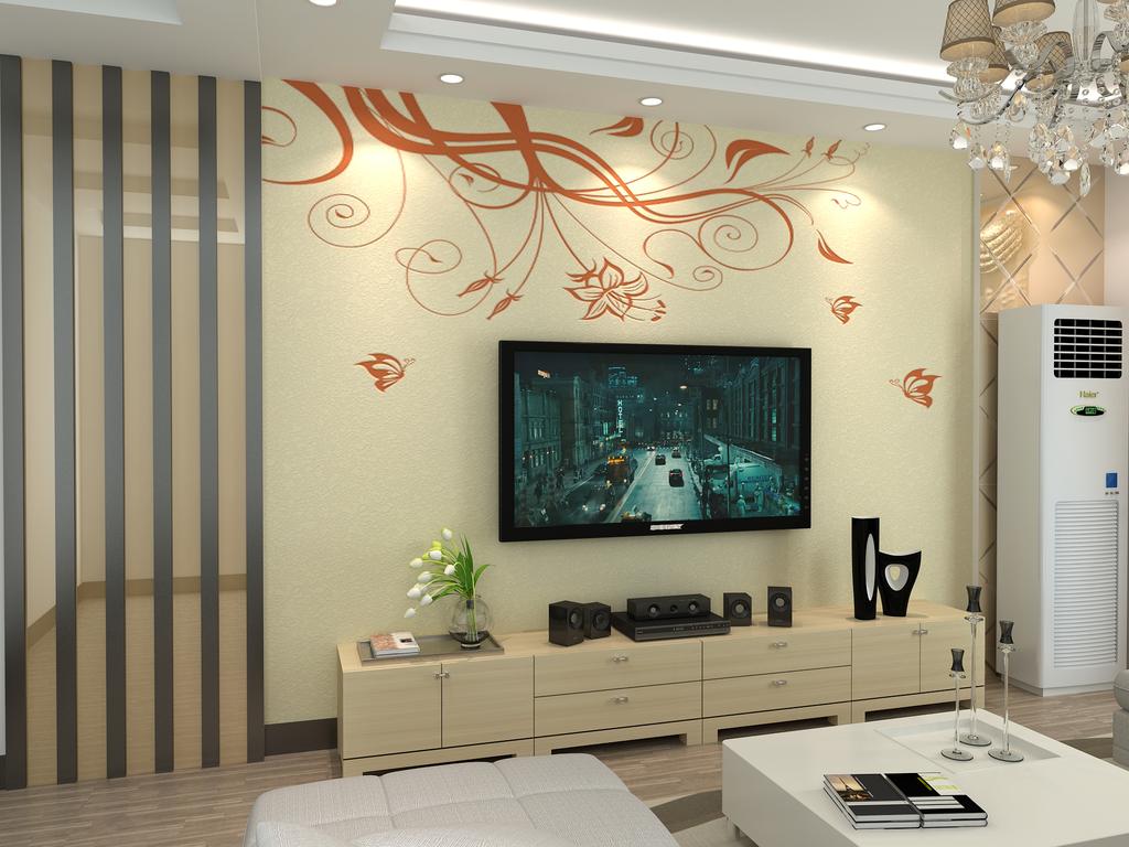 硅藻泥电视背景墙3d模型(含文泰矢量图)