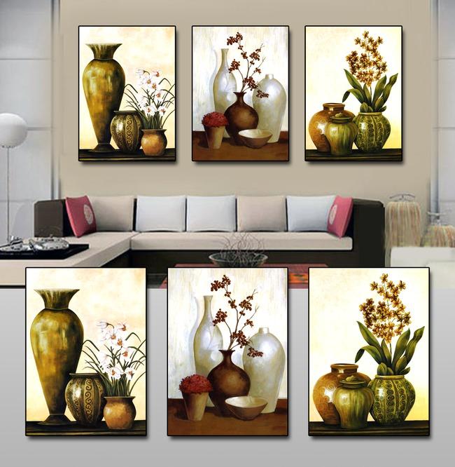 花瓶高端手绘油画装饰画
