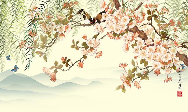 高清手绘花鸟电视背景墙装饰画