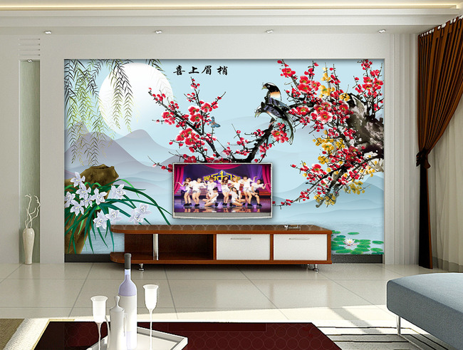 喜上眉梢梅花山水画电视背景墙