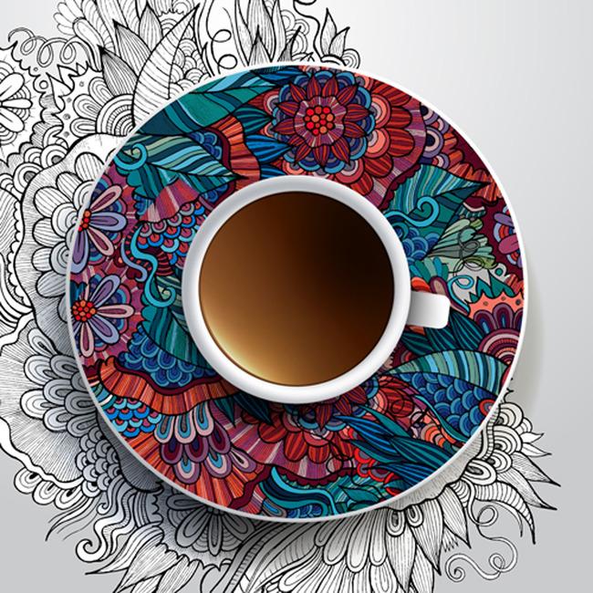 高档手绘精美咖啡店海报设计图模板下载(图片编号:)
