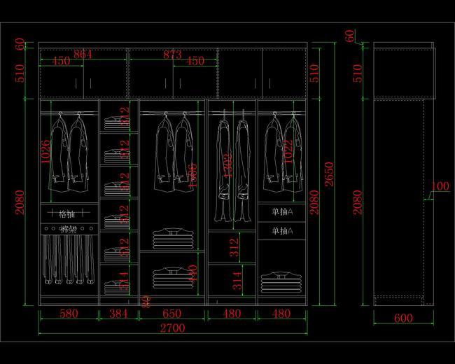 室内设计 cad图库 家具cad图纸 > 整体衣柜cad  下一张&gt