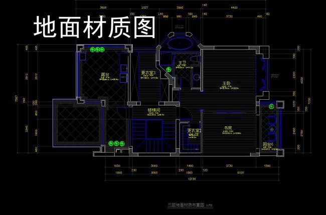 cad三层别墅施工图别墅平面立面剖面图模板下载(图片