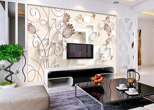 简约手绘花朵3d立体电视背景墙