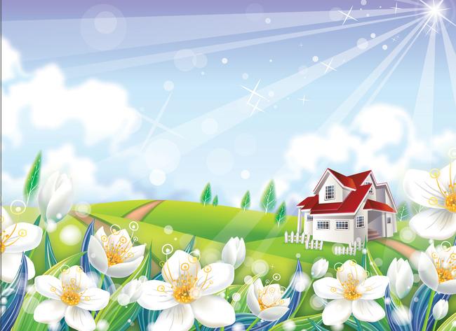 要房子树木花和动物有简单的画