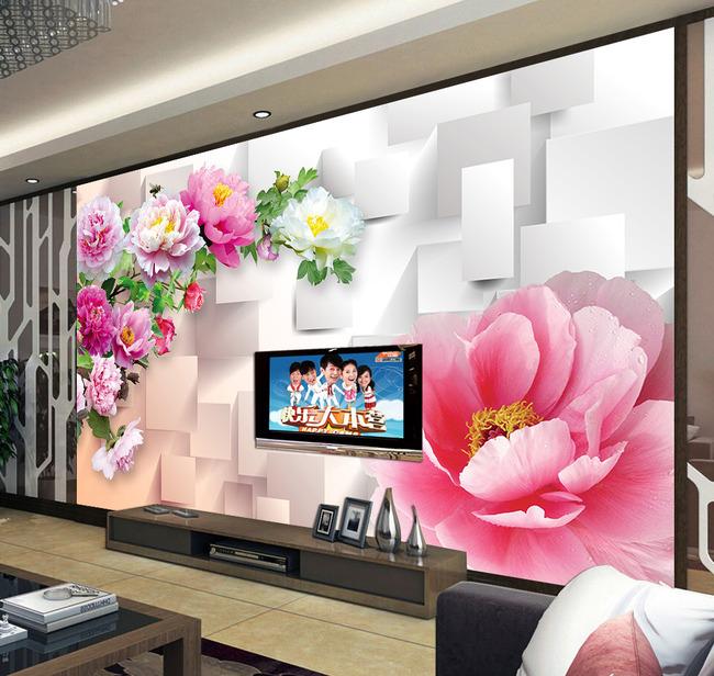 3d立体牡丹壁画电视背景墙