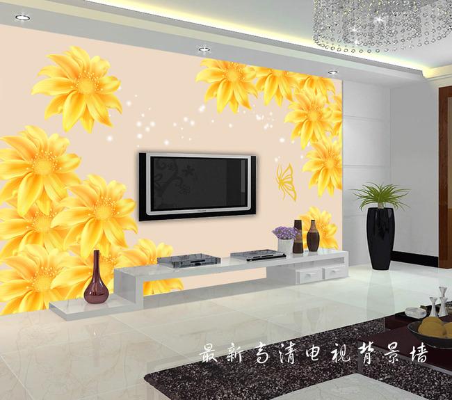 唯美黄色花朵电视背景墙