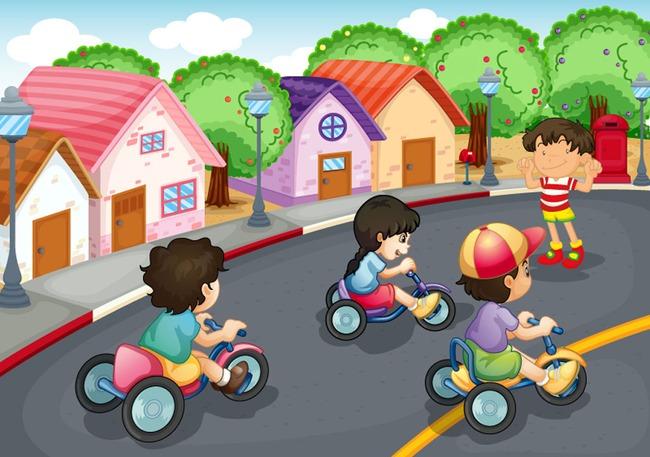 卡通儿童单车比赛矢量插画
