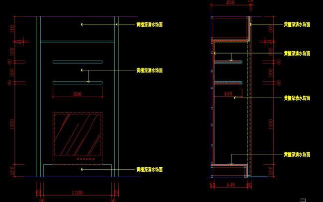 cad电视墙造型施工图电视柜立面剖面图