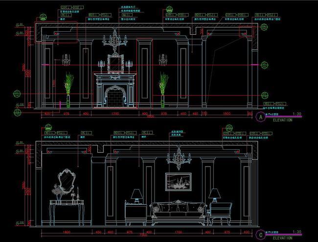 cad欧式家装整套施工立面详图剖面节点