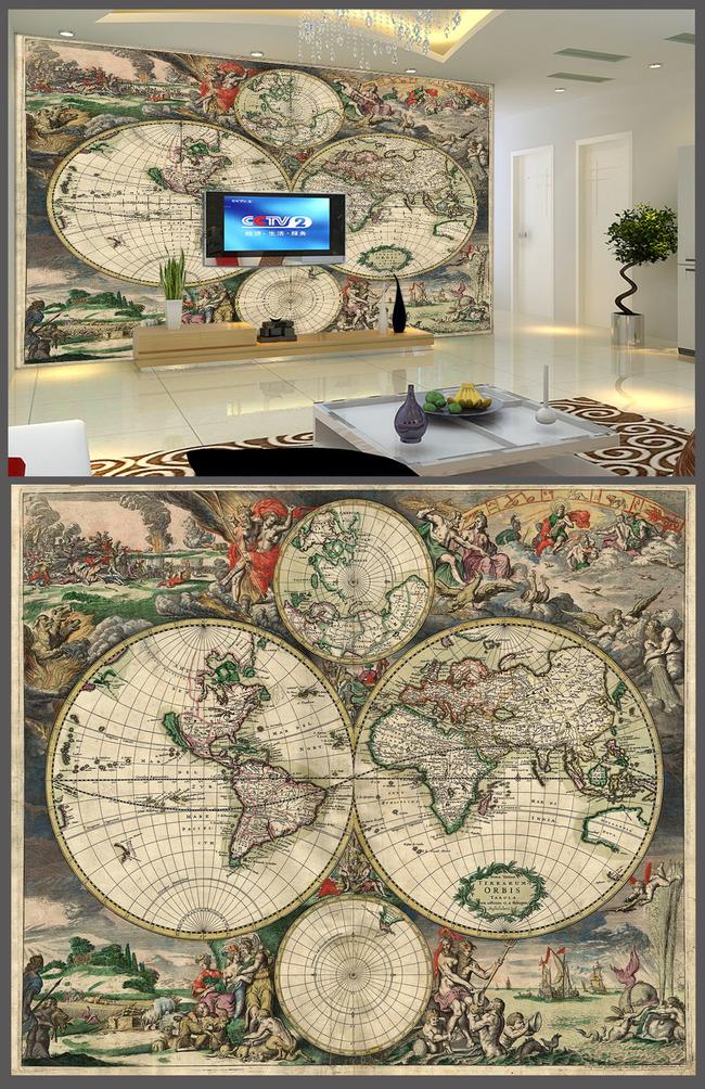 欧式世界地图电视背景墙设计