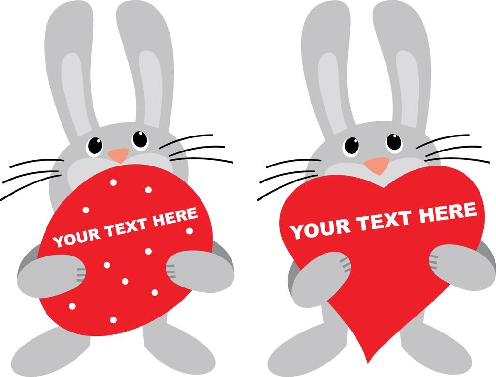 呆萌卡通兔子卡通兔子图案印花设计