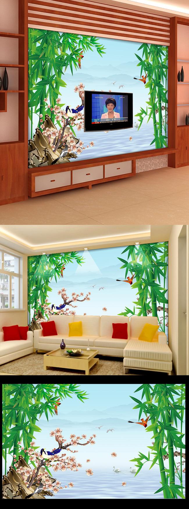 山水画鸟电视背景墙