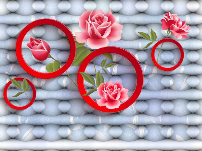 简约圆形立体红花背景墙