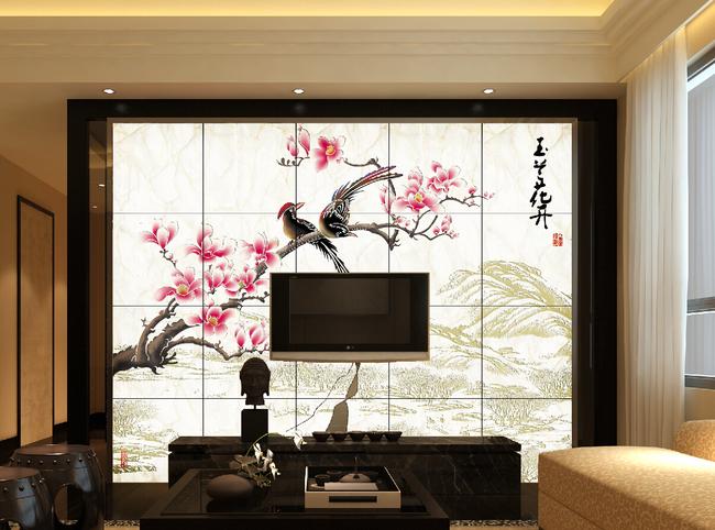 背景墙|装饰画 电视背景墙 客厅电视背景墙 > 玉兰花开新中式背景墙带