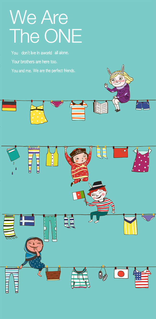 卡通孩子插画服饰模板下载 卡通孩子插画服饰图片下载 绳子上的衣服和