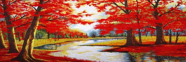 现代唯美高雅红色枫叶林江河风景油画素材