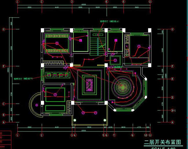 cad中式四层别墅施工图立面天花水电图模板下载