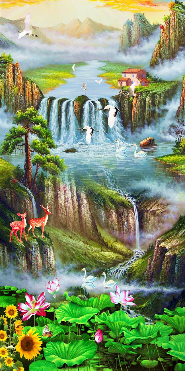 风景油画迎客松仙鹤山水中式玄关高清图片下载(图片)图片