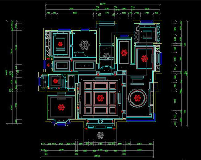 cad中式三层别墅施工图