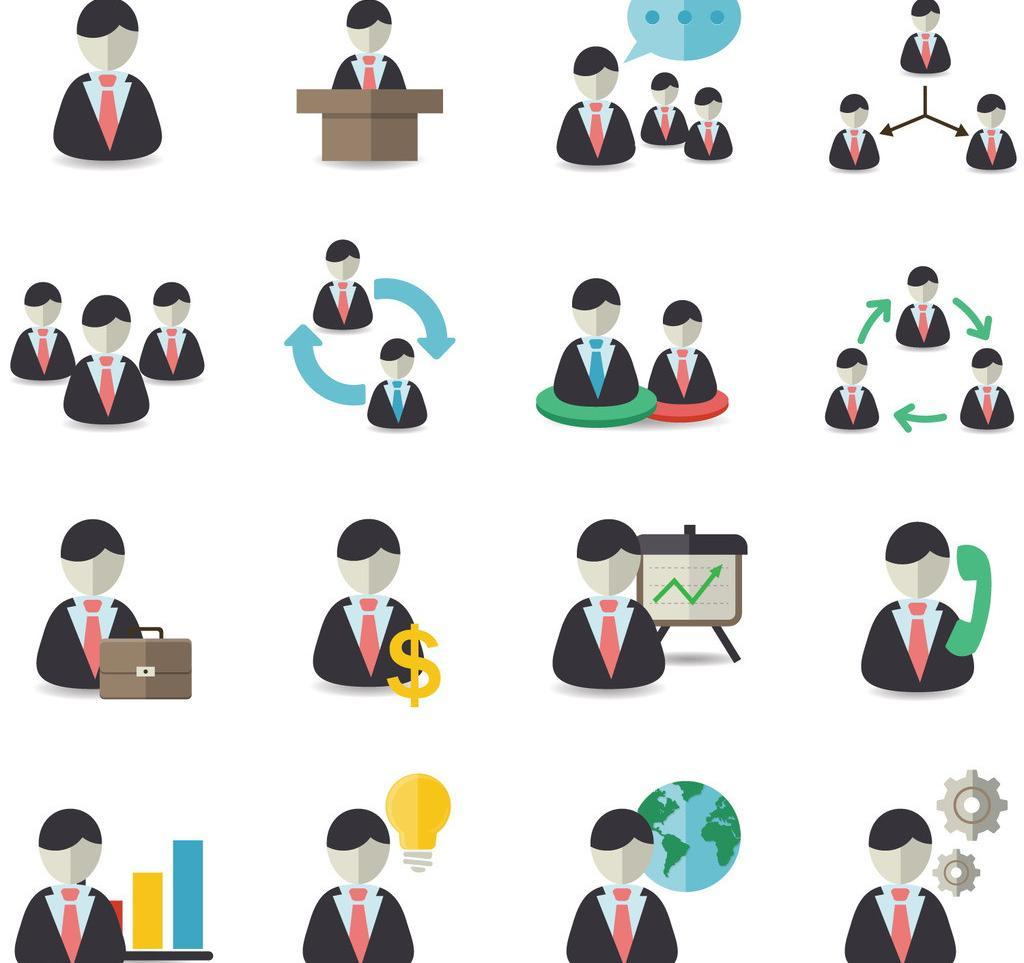 商务男性办公人物ppt图标图片