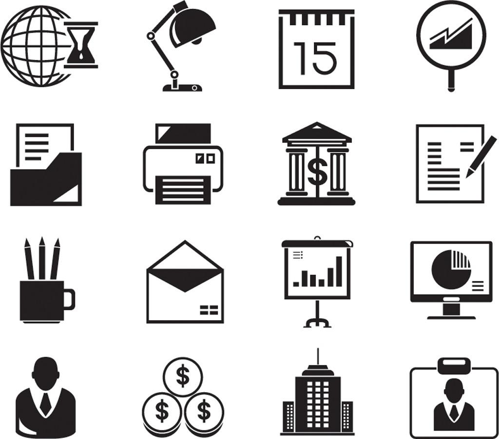 商务金融办公ppt常用图标图片