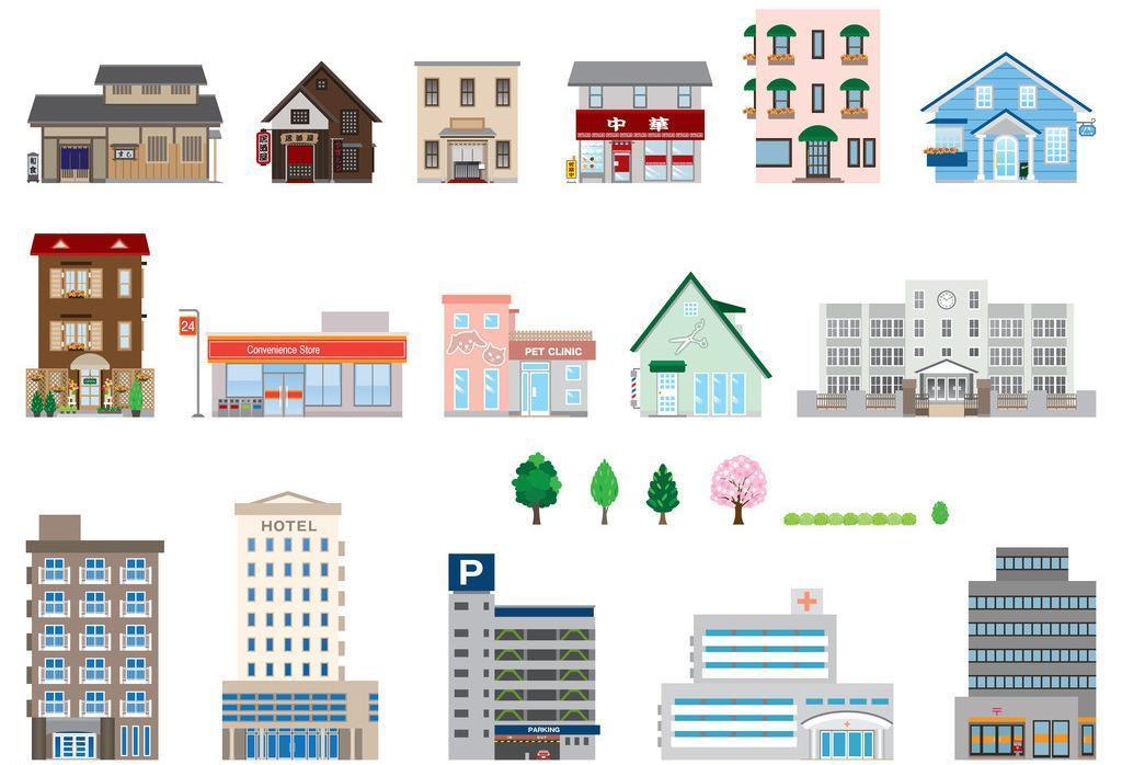 房屋 建筑 图标 素材 合集 ppt 城市 写字楼 大厦 网页图标设计 网站图片