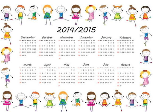 2015年卡通儿童房日历模板设计
