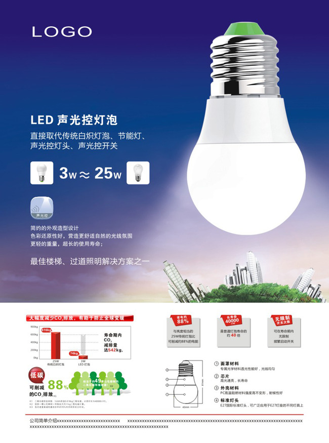 led灯灯泡设计宣传页彩页