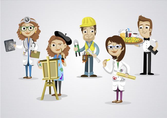 各种职业卡通人物矢量素材各类行业人卡通