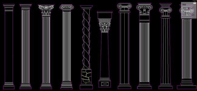 cad欧式构件罗马柱建筑门头石膏线