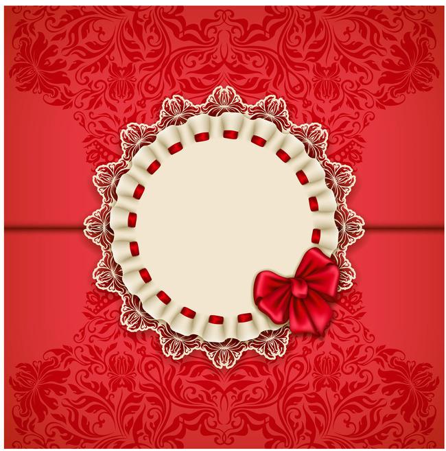 平面设计 节日设计 圣诞节 > 红色花纹蝴蝶结贺卡请帖  下一张&