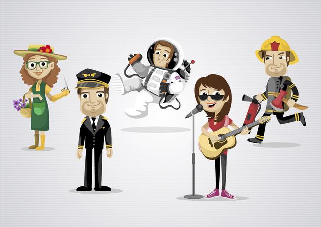各种职业卡通人物素材各类职业卡通形象