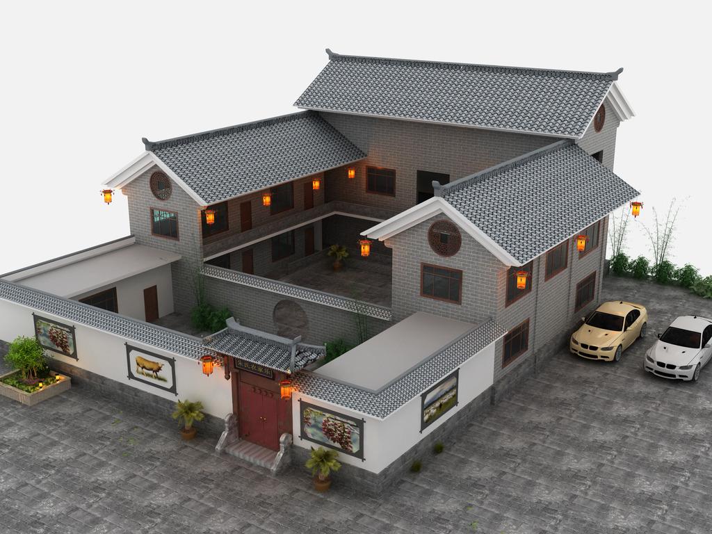 3d古建筑中式建筑效果图模型古建筑3d