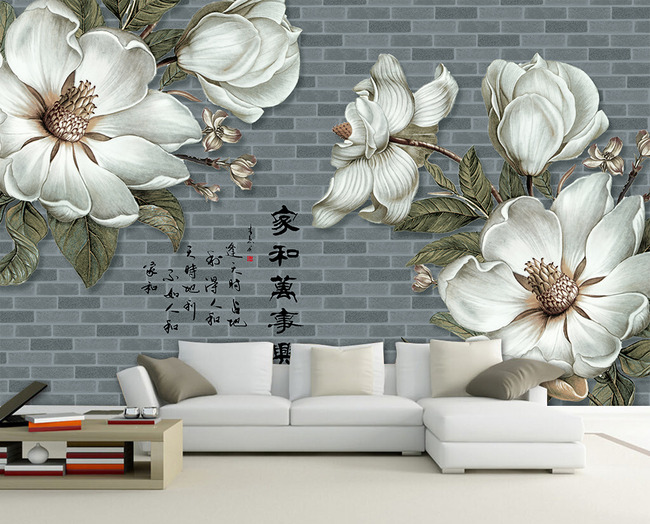 手绘花朵高清壁画电视背景墙