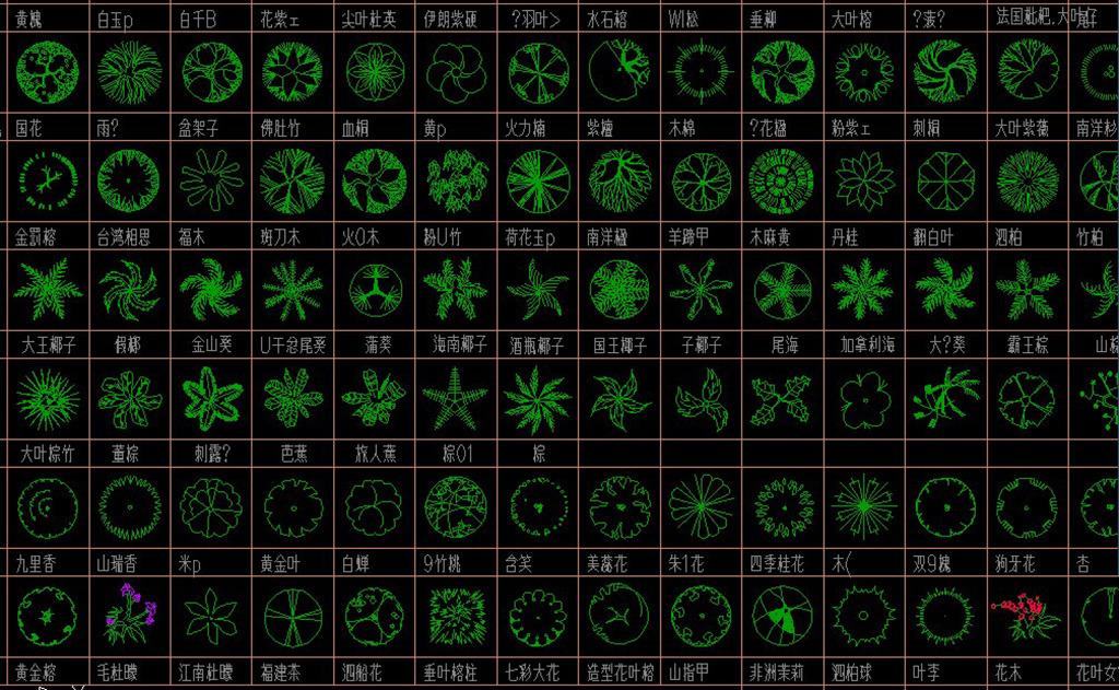 cad图库植物平面图