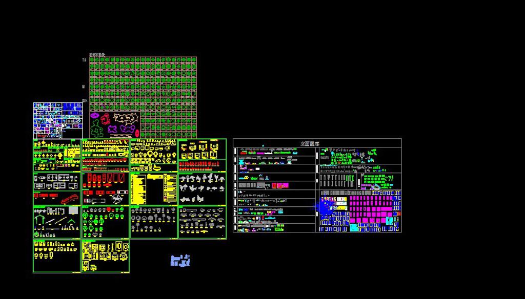 cad图库植物平面图图片下载 cad图库 植物平面图施工图 立面门 材质