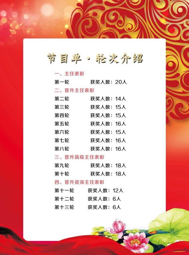 企业晚会年会春节联欢节目单模版图片