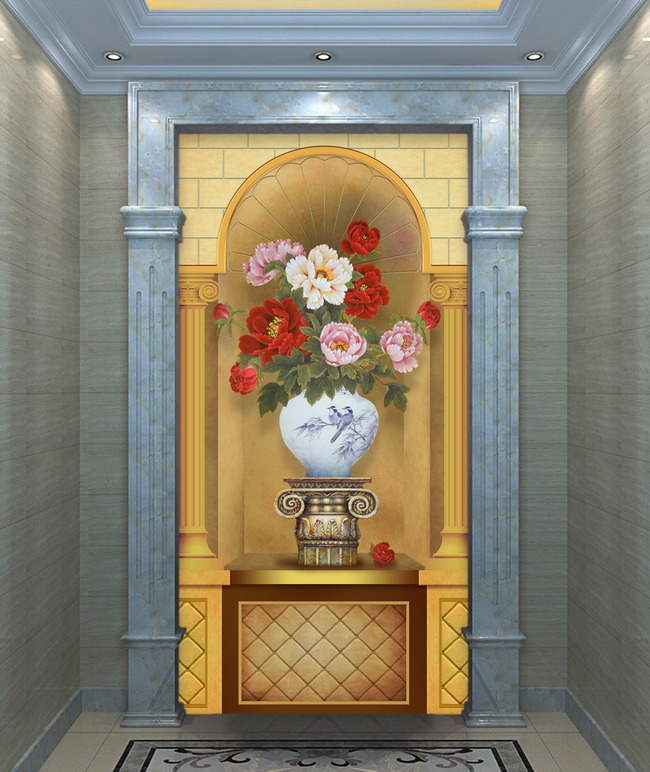 欧式3d花卉花瓶罗马柱软包玄关背景墙