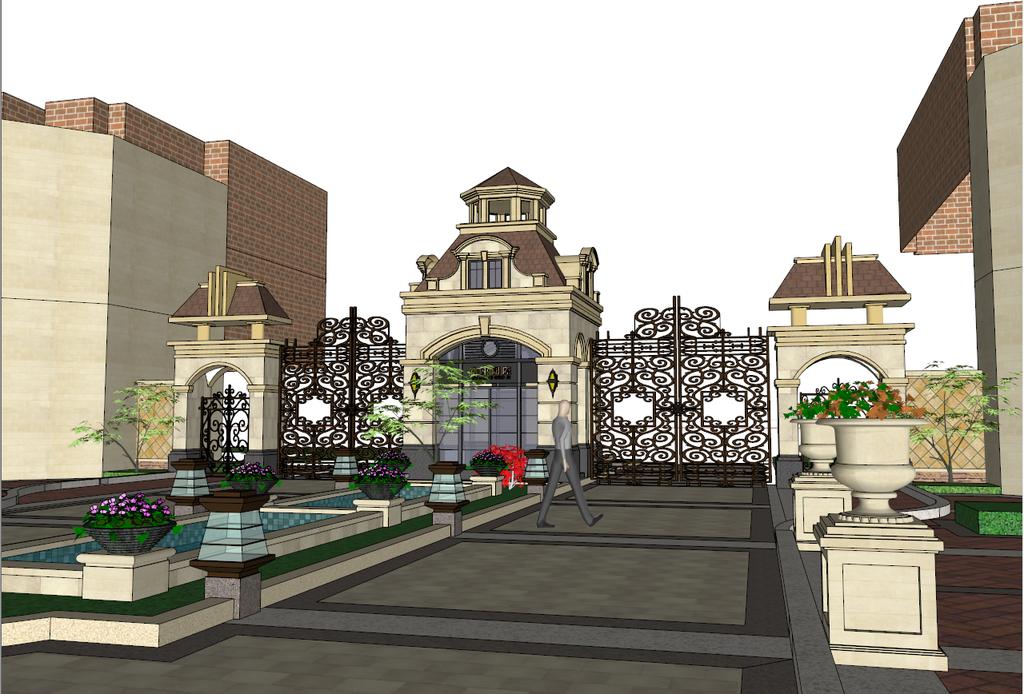 欧式建筑小区气派大门sketchup模型
