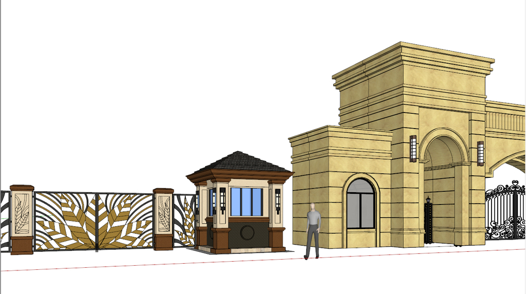 小区欧式建筑大门sketchup模型