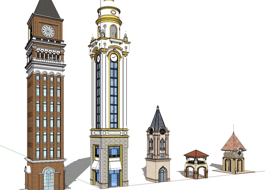 欧式 钟楼 亭子 sketchup 模型模板下载图片
