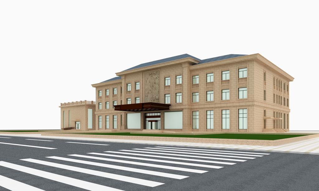 3d室外建筑模型欧式办公楼外立面模型