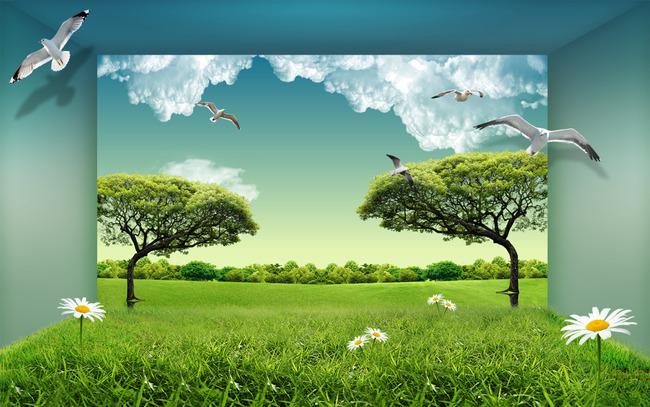 3d立体蓝天白云大树草地现代风景装饰画