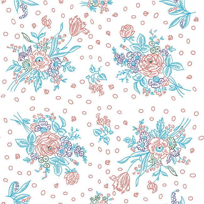 简约设计手绘现代花欧式花花纹背景墙
