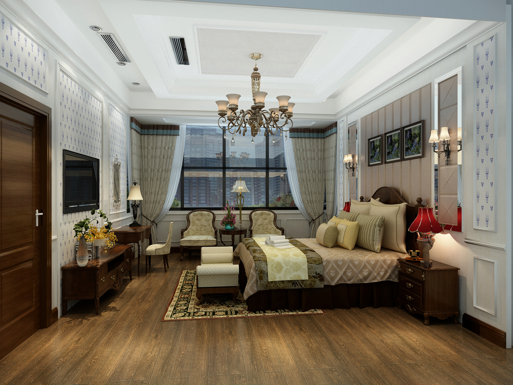 3d模型 室内设计3d模型 家装模型 > 别墅主卧室3d效果图  下一张&nbsp