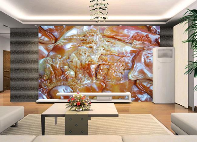 3d立体玉石玉雕浮雕客厅电视背景墙