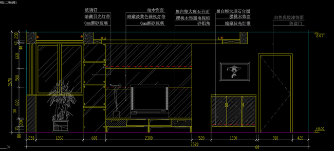 cad客厅背景墙和电视背景墙施工图详解
