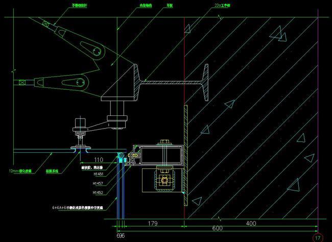 cad点式玻璃幕墙节点大样剖面图
