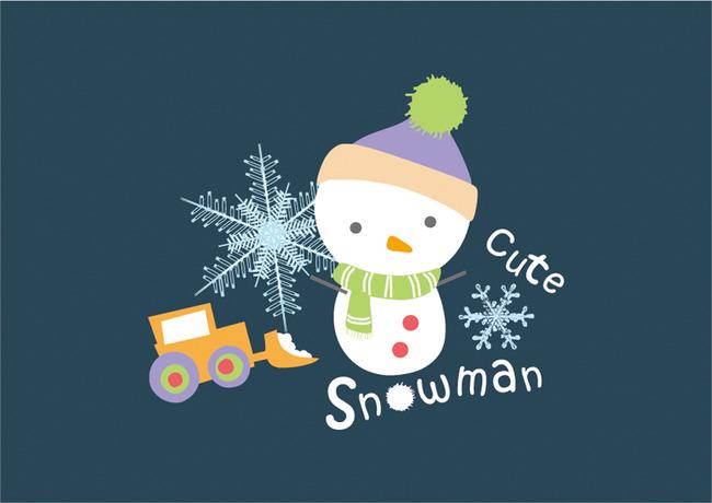 冬天卡通雪人海报图片